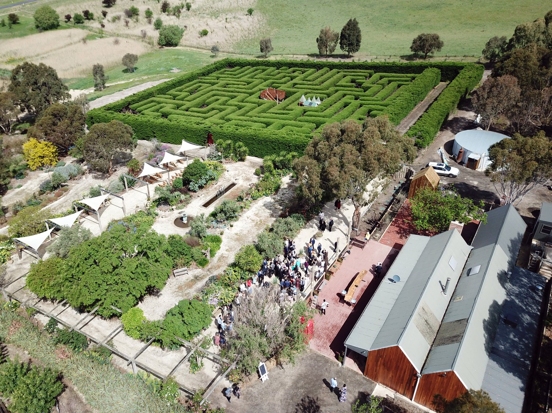 Aerial photo of cafe, maze and gardens