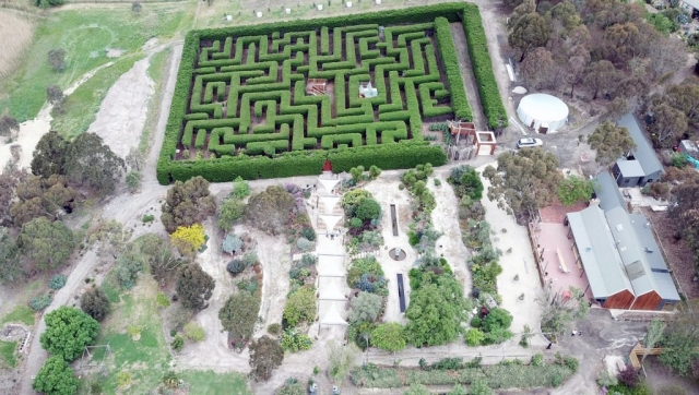 Aerial photo of Maze and Gardens