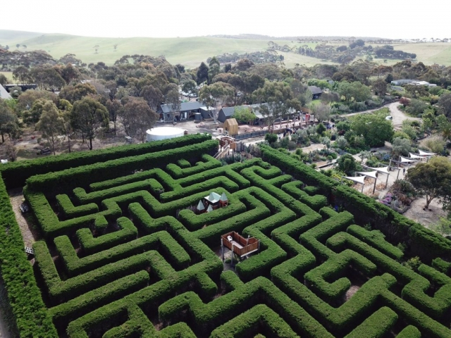 Aerial photo of the Maze