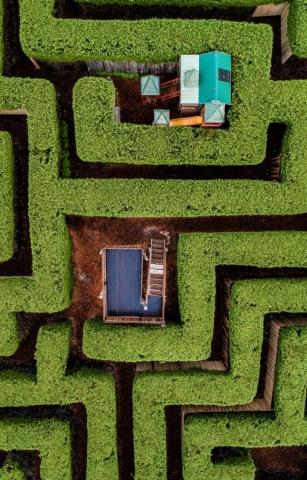 Closeup aerial photo of the Maze