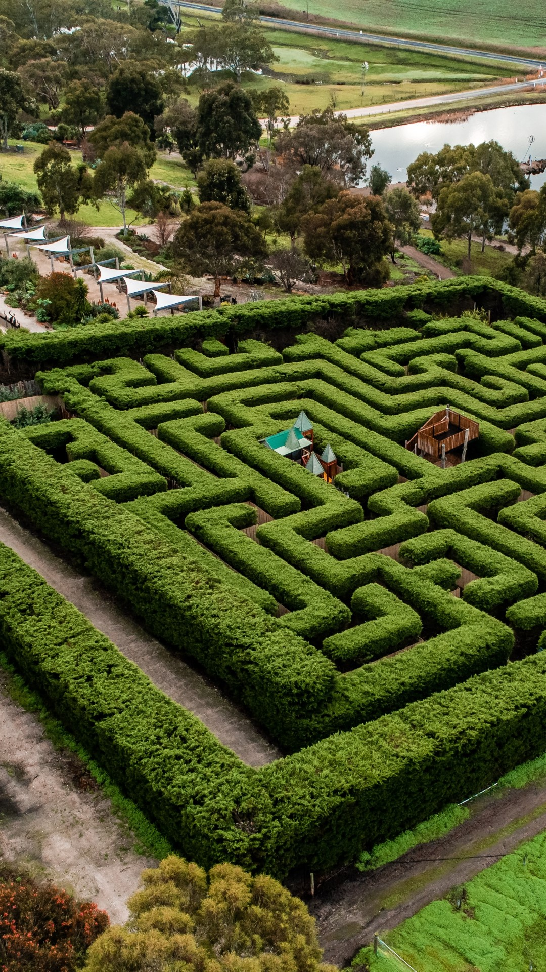 Aerial photo of the Maze and Gardens taken from another perspective.